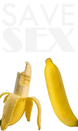 Bitten banana and fresh banana meaning save sex  Standard-Bild