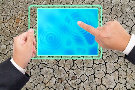 Hand holding a digital tablet pc, Technology can create everything