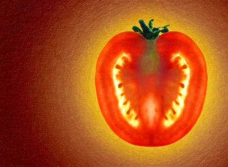 Beautiful shining sliced tomato photo