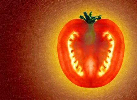 Beautiful shining sliced tomato