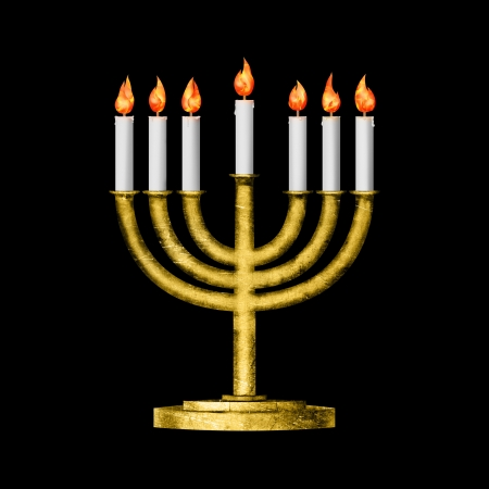 shalom: Hanukkah candles all candle lite on the traditional Hanukkah golden menorah