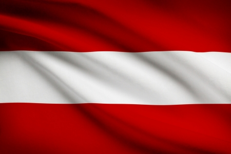 Austrian flag blowing in the wind. Part of a series.
