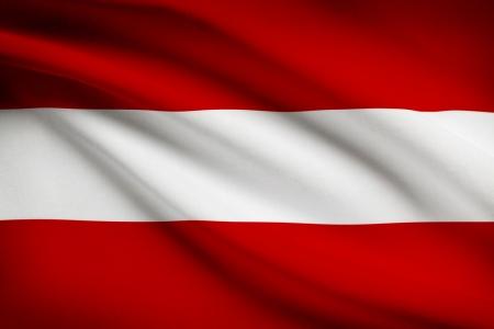Drapeau autrichien dans le vent. Partie d'une série. Banque d'images - 21907068