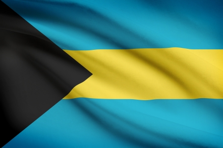 bahamian: Bahamian flag blowing in the wind. Part of a series.