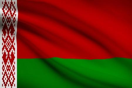 belorussian: Belorussian flag blowing in the wind. Part of a series.