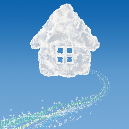 Numbers falling out from cloud shaped house - data base concept. photo