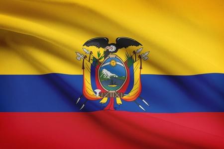 republic of ecuador: Ecuadorian flag blowing in the wind. Part of a series.