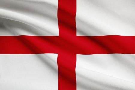 Engels vlag waait in de wind. Een deel van een serie.