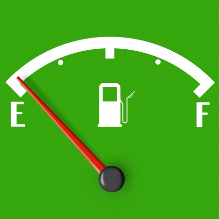 Low fuel sign with red indicator isolated on green background