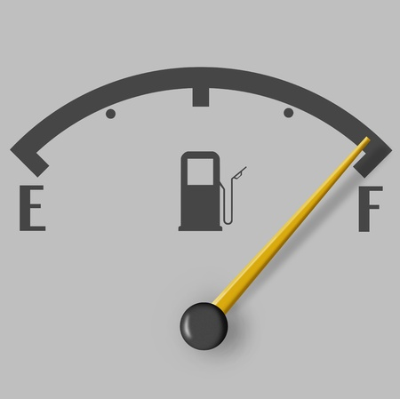 Full fuel sign with yeallow indicator isolated on grey background photo