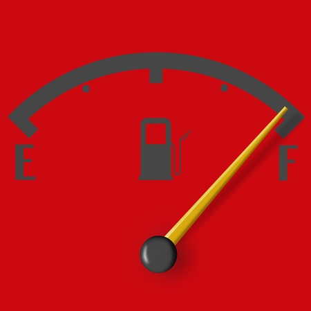 Full fuel sign with yeallow indicator isolated on red background photo