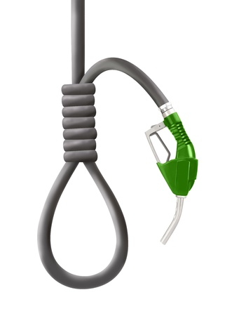 Green color gun from the fuel pump with looped hose shaped as gallows isolated on white