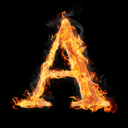 burning: Letters and symbols in fire - Letter A. Stock Photo