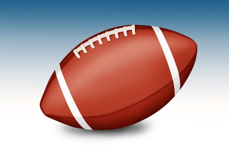American football ball on gradient white-blue background - illustration  illustration