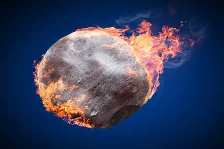 meteor crater: Illustration of an asteroid burning in atmosphere isolated on dark blue background