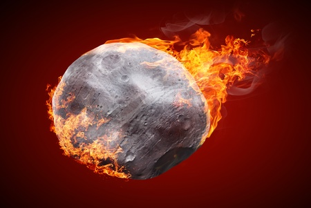 Illustration of an asteroid burning in atmosphere isolated on dark red background illustration