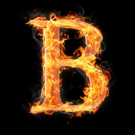 fire alphabet: Letters and symbols in fire - Letter B.