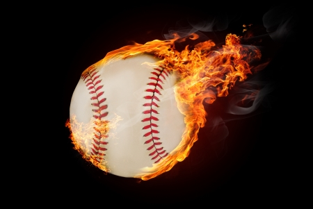 Flying baseball ball on fire - flying down