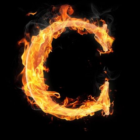 Letters and symbols in fire - Letter C. Stock Photo