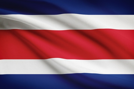 costa rican: Costa Rican flag blowing in the wind. Part of a series.