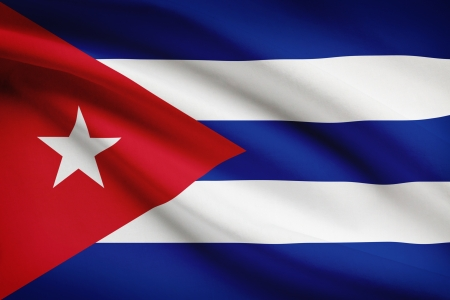 cuban flag: Cuban flag blowing in the wind. Part of a series.