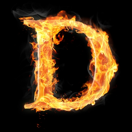 fire letter: Letters and symbols in fire - Letter D. Stock Photo