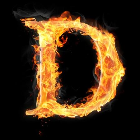 Letters en symbolen in brand - Brief D.
