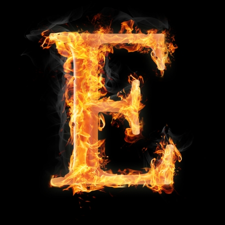 burning letter: Letters and symbols in fire - Letter E. Stock Photo