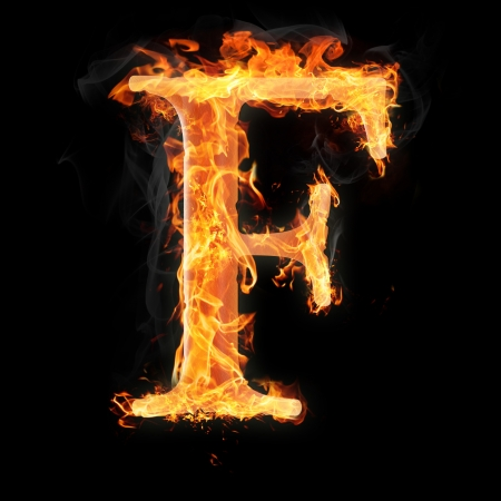 Letters and symbols in fire - Letter F. Stock Photo