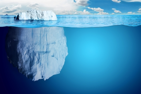 floating: Underwater view of iceberg with beautiful polar sea on background - illustration. Stock Photo