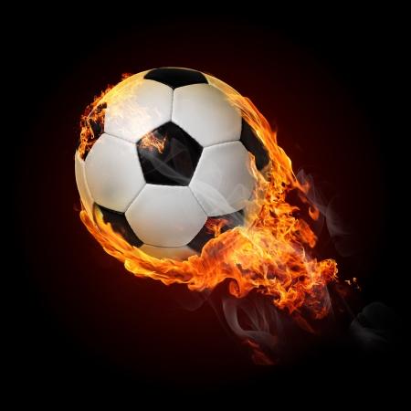 Flying soccer ball on fire - flying up