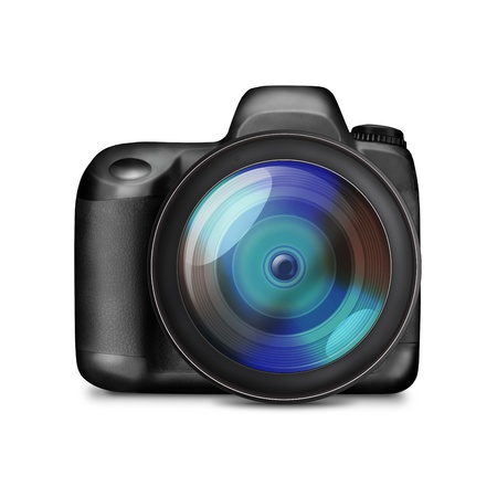 reflex camera: Professional DSLR photo with no lables camera isolated on white - illustration Stock Photo