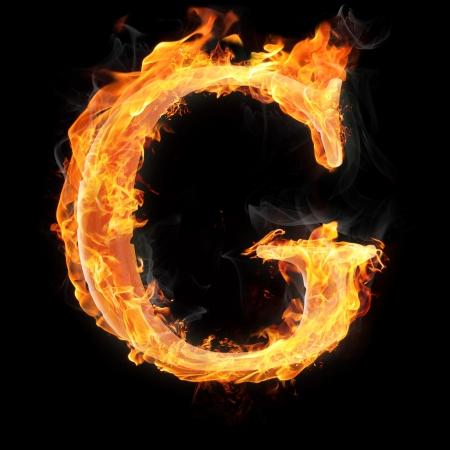 文字および記号の火災で - 手紙 g. 写真素材