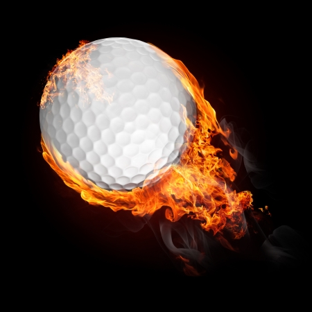 ball game: Golf ball in fire flying up - illustration