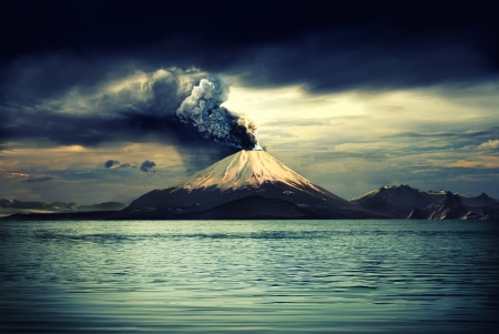Erupting volcano near water - illustration illustration