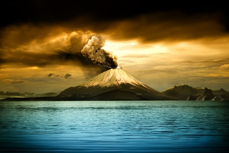 Picturesque view of erupting volcano - illustration 스톡 콘텐츠