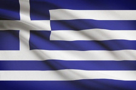 Greek flag blowing in the wind. Part of a series.