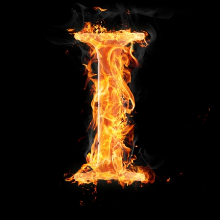 Letters and symbols in fire - Letter I. photo