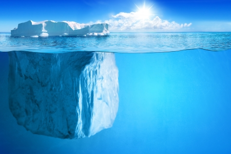 polar bear on the ice: Underwater view of big iceberg with beautiful polar sea on background - illustration.