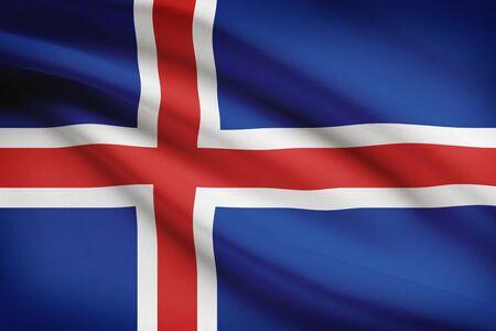 icelandic flag: Bandera islandesa soplando en el viento. Parte de una serie. Foto de archivo