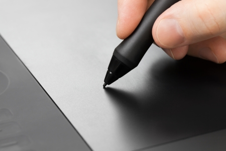 graphic designer: Professional graphic tablet with pen