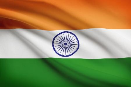 Indiase vlag waait in de wind. Onderdeel van een serie. Stockfoto