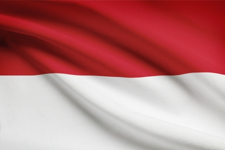 Indonesian flag blowing in the wind. Part of a series. Imagens