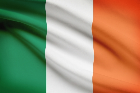 irish pride: Irish flag blowing in the wind. Part of a series.