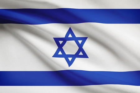 Israeli flag blowing in the wind. Part of a series.