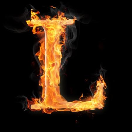 文字および記号の火災で - 手紙 l.