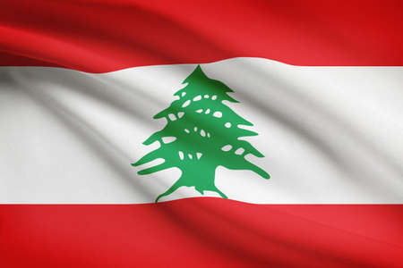 lebanese: Lebanese flag blowing in the wind. Part of a series.