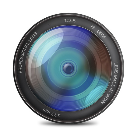 Professional photo lens with some information on it and isolated on white - illustration