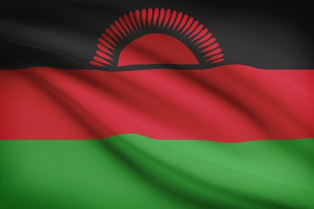 malawian: Malawian flag blowing in the wind. Part of a series.