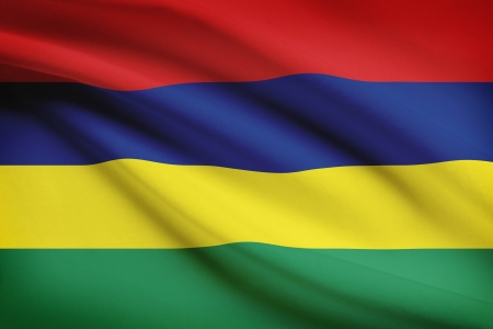 Mauritian flag blowing in the wind. Part of a series.